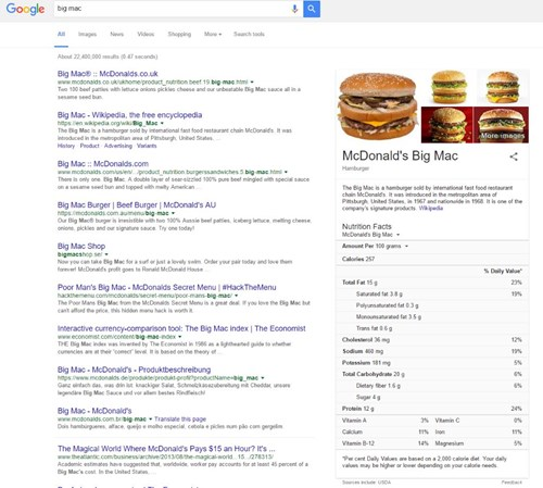 Google Big Mac Nutritional Information